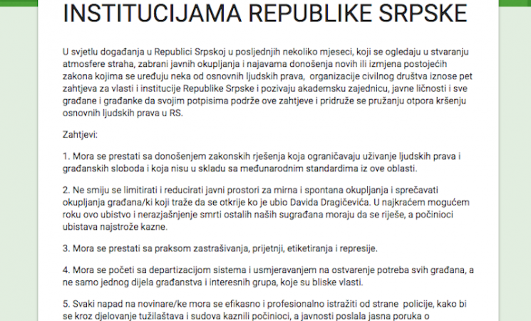 Pet zahtjeva vlastima i institucijama Republike Srpske