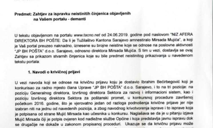 BH Pošte demantuju pisanje portala Tačno.net