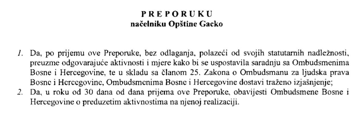 preporuka gacko ombudsmen